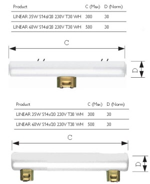 Osram ledinestra 8 5w 827 s14s 230v 50cm 2p for Gemiddelde levensduur keuken